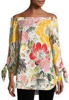 Fuzzi Floral-Print Off-the-Shoulder Poplin Tunic