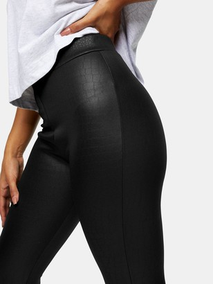 Topshop Croc Wetlook Leggings - Black