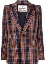 Vivienne Westwood structured-shoulder check blazer