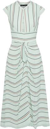 Proenza Schouler Cutout Knotted Striped Crepe Midi Dress