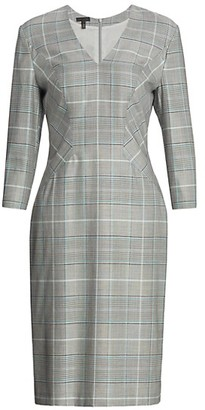 Escada Dsava Glen Plaid V-Neck Sheath Dress