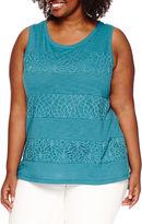Liz Claiborne Lace Stripe Tank Top - Plus