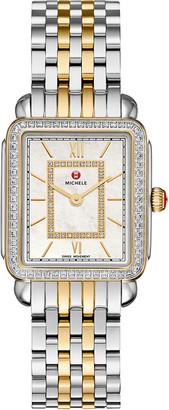 Michele Deco II Midsize Two-Tone Diamond-Dial Watch