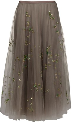 Valentino Birds-Embroidered Tulle Skirt