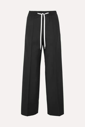 Miu Miu Striped Wool And Mohair-blend Track Pants - Black