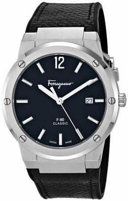 Salvatore Ferragamo Stainless Steel Analog Quartz Watch with Silicone Strap Blak 21.5 (Model: 7630030546860)
