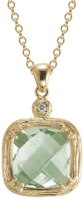 I. Reiss 14K 3.77 Ct. Tw. Diamond & Green Amethyst Color Pendant