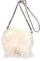 Diane von Furstenberg Love Power Shearling And Textured-leather Shoulder Bag - Cream