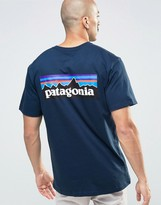 Patagonia T-shirt With P6 Logo In Regular Fit Navy