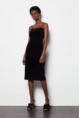 Karen Millen Velvet Strap & Bar Dress