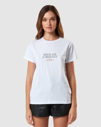 Charlie Holiday Women's White Shorts - Give Me a Break Regular Tee - Size One Size, M at The Iconic