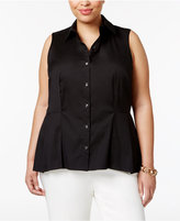 Charter Club Plus Size Peplum Shirt, Only at Macy's