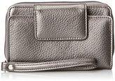Buxton Rfid Cell Phone Wristlet Wallet, Pewter, One Size