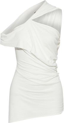Rick Owens Lilies Off-the-shoulder Twist-front Draped Jersey Top