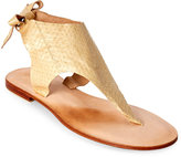 Cocobelle Snakeskin Hand Tie Thong Sandals