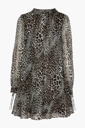Badgley Mischka Leopard-print Silk-chiffon Mini Dress