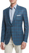 Brioni Plaid Two-Button Wool Sport Coat, Teal