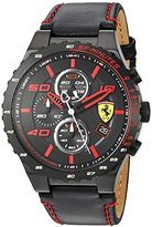 Ferrari Men's Quartz Stainless Steel and Leather Casual Watch, Color:Black (Model: 830363)