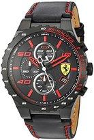 Ferrari Scuderia Men's Quartz Stainless Steel and Leather Casual Watch, Color:Black (Model: 830363)