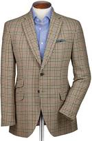 Slim Fit Beige Checkered Luxury Border Tweed Wool Jacket Size 40 Long By Charles Tyrwhitt