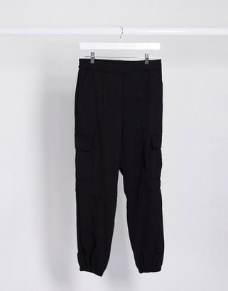 JDY zane pocket detail denim trousers in black