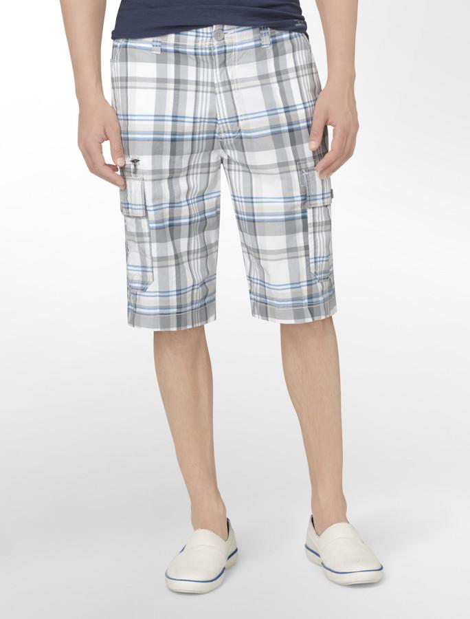 Calvin Klein Jeans Plaid Cotton Cargo Shorts