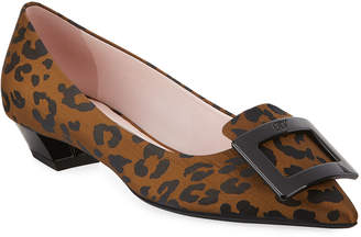 Roger Vivier Gommettine Ball Leopard Low-Heel Pumps