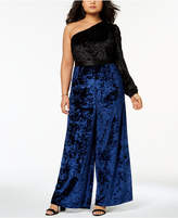 Monif C Trendy Plus Size Velvet One-Shoulder Jumpsuit