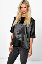 Boohoo Poppy Boutique Oversized Side Spilt Satin T-Shirt