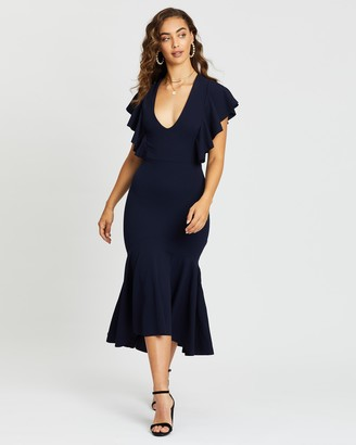 Missguided Ruffle Hem V-Neck Fishtail Midi Dress