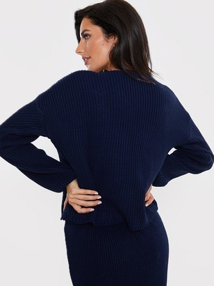 In The Style X Lorna LuxeCopenhagen Double Breasted Knitted Cardigan - Navy