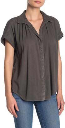 Caslon Front Button Woven Camp Shirt (Regular & Petite)