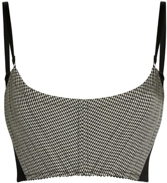 Alexander Wang Check Scallop-Trim Crop Top