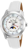 Lucien Piccard Women's 'Artista' Quartz Stainless Steel and Leather Casual Watch, Color:White (Model: LP-40041-02MOP-WHS)
