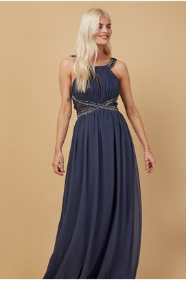 Little Mistress Bridesmaid Lauren Gunmetal Lace Insert Maxi Dress With Keyhole