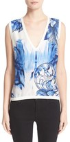 Versace Women's Leaf Print V-Neck Knit Shell