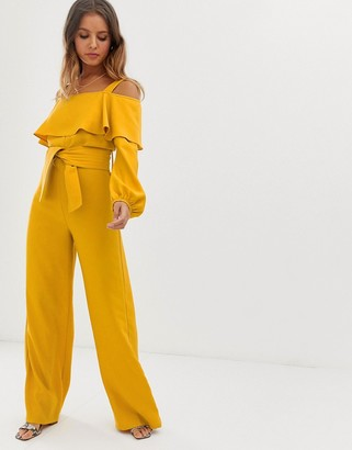 Bardot Current Air long sleeve jumpsuit
