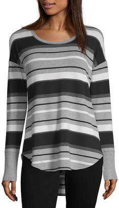 Liz Claiborne Weekend Womens Scoop Neck Long Sleeve French Terry Blouse