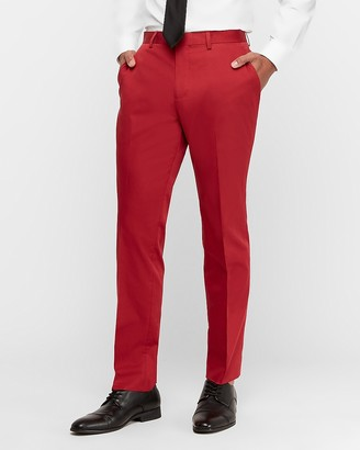 Express Slim Red Cotton Sateen Stretch Suit Pant