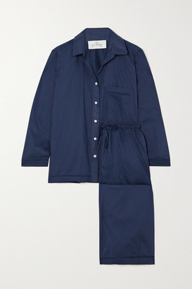 POUR LES FEMMES Crochet-trimmed Cotton-voile Pajama Set - Blue