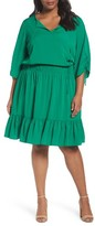 Eliza J Plus Size Women's Ruched Sleeve Blouson Dress
