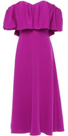 Lela Rose Off-the-shoulder Ruffled Silk-cady Midi Dress
