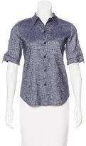Theory Linen-Blend Button-Up Top w/ Tags