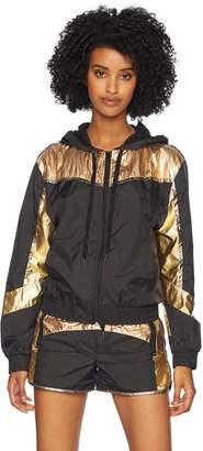 Pam & Gela Women's Colorblocked Metallic Nylon Zip Hoodie