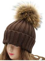 "VamJump Women 7.1""Large Real Raccoon Fur Pom Pom Cap Knit Beanie Hat"