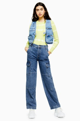 Topshop Womens Mid Blue Combat Jeans - Mid Stone