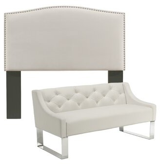 Darby Home Co Almodovar Upholstered Panel Headboard and Sofa Bench Size: Queen/Full, Upholstery: Ivory