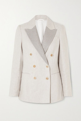 Brunello Cucinelli Bead-embellished Double-breasted Linen Blazer - Ivory