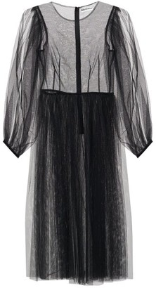 Molly Goddard Areesha Balloon-sleeve Tulle Midi Dress - Black