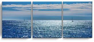 "Ready2HangArt Oceans 3 Piece Wrapped Canvas Coastal Wall Art Set, 20"" x 48"""